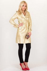 Clo Golden Metallic Leather Cardi Coat / Size: 40 - Fit: XS / S