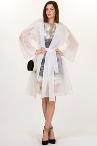 Donna Karan White Organza Coat / Size: M - Fit: M