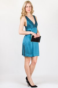 See by Chloé Teal Blue Satin Dress with Perforated Details / Size: 46 ΙΤ - Fit: M