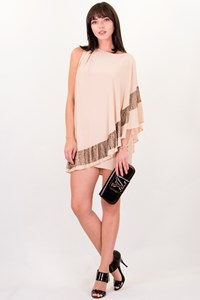 Haute Hippie Nude Bead-Embellished Cape Dress / Size: S - Fit: S
