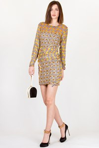 Jewel By Lisa Print and Sequin Embellished Silk Dress