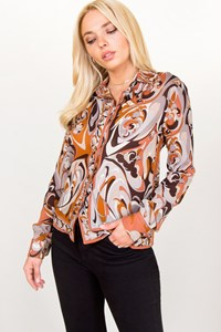 Pucci Multicoloured Silk Printed Shirt / Size: 42 IT - Fit: S