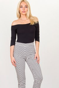 Max Mara Black and White Printed Pants / Size: 38 IT - Fit: XS/S