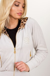 Roberto Cavalli Ice Colored Velour Track Top with Animal Print Lining / Size: 40 IT - Fit: XS/S