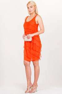 John Galliano Orange Ruffled Silk Dress / Size: 42 IT - Fit: S