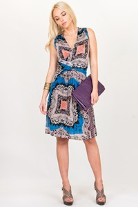 Etro Printed Jersey Dress with Twisted Front / Size: 42 IT - Fit: XS/S