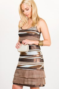 Missoni Ciel-Brown Knitted Dress with Sequins / Fit: S