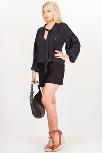 Carla G Black Crepe de Chine Shirt / Size: 42 IT - Fit: S/M