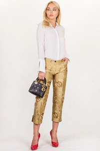 BARBARA BUI INITIALS Embroidered Taffeta Pants / Size: M/40 - Fit: S/M
