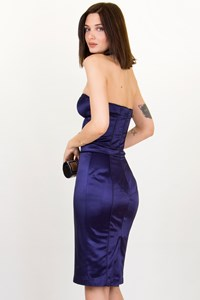 Julien Macdonald Blue Strapless Dress / Size: 42 IT - Fit: XS