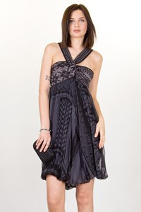 Jean Paul Gaultier Grey-Black Chiffon and Knit Balloon Dress / Size: M - Fit: XS/S