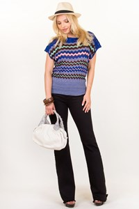 M Missoni Royal Blue-Pink-Brown Crochet Blouse / Size: 42 IT - Fit: S / M