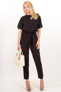 Max Mara Studio Black Short Sleeved Jumpsuit / Size: 38 ΙΤ - Fit: Loose S
