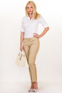 Theory Beige Cotton Blended Pants with Stripe / Size: ? - Fit: S / M