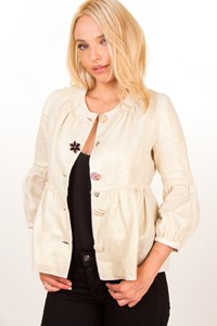 Erotokritos Ecru-Gold Linen Jacket / Size: 1 - Fit: S