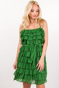 Juicy Couture Green Ruffle Silk Dress / Size: 8 US - Fit: S