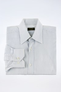 Corneliani White-Ciel Cotton Shirt with Wide Stripes / Size: 16/41 - Fit: M
