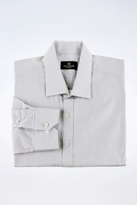 Alcione Uomo White-Ciel Check Cotton Shirt / Size: L - Fit: M