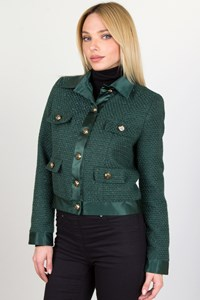 Twenty-29 Forest Green Boucle Jacket / Size: Small
