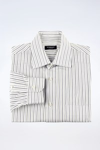Burberry London White-Ciel-Blue Striped Cotton Shirt / Size: 40/15¾ - Fit: M