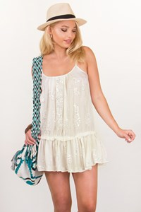 Juliet Dunn London White Cami Embroidered Dress with Sequins / Size: 1 - Fit: S / M