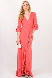 Habi Ch Coral-Colored Maxi Wrap Dress / Size: ? - Fit: S/M