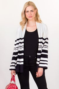 Marina Rinaldi Black and White Striped Cardigan / Size: XL - Fit: L