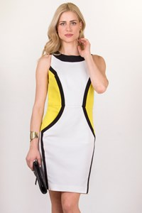 Class Roberto Cavalli Yellow-Black-White Dress / Size: 48IT - Fit: M/L