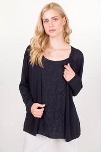 Marina Rinaldi Navy Blue Blouse with Attached Cardigan / Size: L - Fit: True to Size