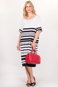 Marina Rinaldi Black and White Striped Dress / Size: XL - Fit: L/XL