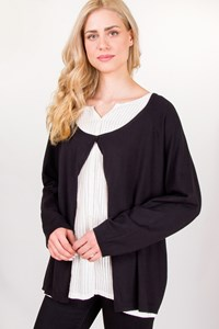 Marina Rinaldi White Shirt with Black Attached Cardigan / Size: L - Fit: True to Size