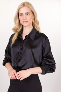 Marina Rinaldi Bead-Embellished Black Silk Shirt / Size: 29 - Fit: L