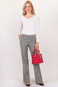 Tory Burch Corinna Grey Wool Pants