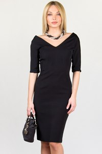 Anna Molinari Black 3/4-sleeve Bodycon Dress / Size: 40 IT