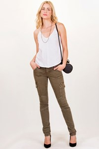 Current/Elliott Combat Green Skinny Cargo Jeans / Size: 26 - Fit: XS / S