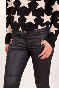 Isabel Marant for H&M Black Faux Leather Biker Cropped Pants / Size: 38 - Fit: S