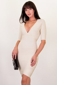 Hervé Leger Ecru Βandage Dress / Size: S - Fit: XSmall / Small
