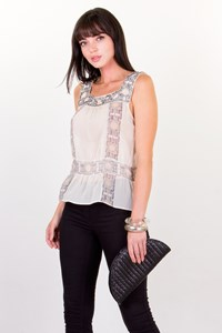 Cacharel Off-White Chiffon Silk Top with Crystals