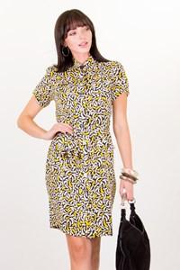 DVF Clio Multicoloured Printed Silk Shirtdress / Size: 8US - Fit: S