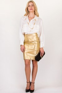 Escada by Margaretha Ley Vintage Gold Leather Pencil Skirt / Size: 38 - Fit: S
