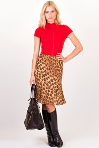 Moschino Jeans Animal-Print Skirt with Leather Straps / Size: 44 IT - Fit: M