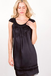 Helen Wang Black Embroidered Silk Dress / Size: 4US - Fit: S