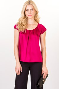 Fuchsia Satin-Like Short Sleeved Blouse / Size: P - Fit: S