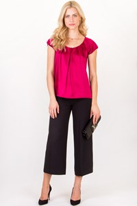Theory Fuchsia Satin-Like Short Sleeved Blouse / Size: P - Fit: S