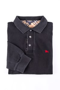 Burberry London Black Cotton Piqué Polo Shirt / Size: S - Fit: S / M