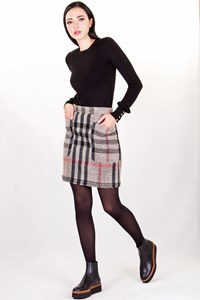 Burberry Brit Multicoloured Check Print Wool Skirt / Size: 8 UK - Fit: XS / S