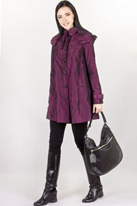 Burberry London Purple Trench Coat with Detachable Hood / Size: 6 UK - Fit: XS / S