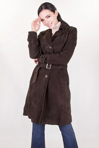 C & C Dark Brown Suede Coat / Size: 42 IT - Fit: XS