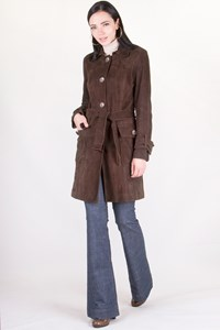 Sicons Brown Suede Coat / Size: 42 IT - Fit: XS