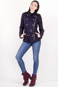 Burberry Brit Dark Blue Military Wool Coat / Size: 10 UK - Fit: XS / S